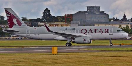 A320 de Qatar Airways, en Farnborough / Foto: Airbus