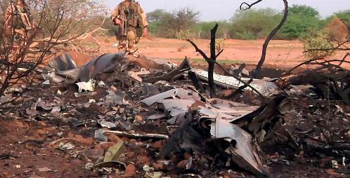 Imagen de los restos del MD83 de Swiftair