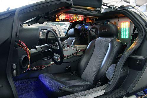 Interior del interio del DeLorean que se empleó en l famosa película