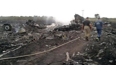 Restos calcinados del Boeing 777 de Malaysia Airlines