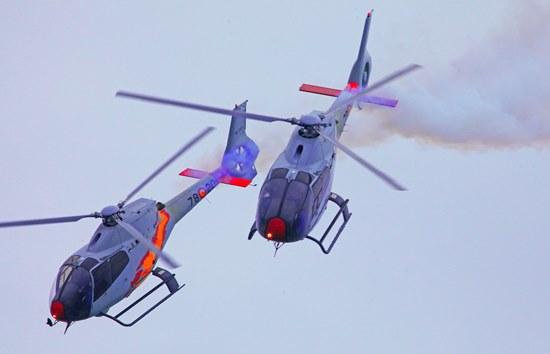 Helicópteros de la Patrulla Aspa, el viernes día 26 / Foto: Josep Ventura