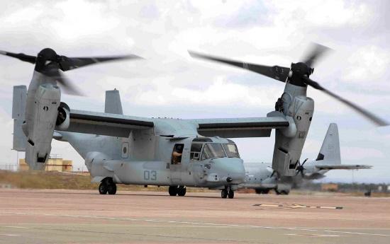 Uno de los Osprey que están estos días en la base de Morón / Foto: Ministerio de Defensa