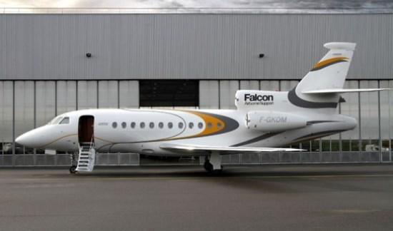 Uno de los Falcon 900 que dan asistencia a los clientes de Dassault Aviation