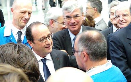 François Hollande, hoy durante la inauguración de la fábrica / Safran