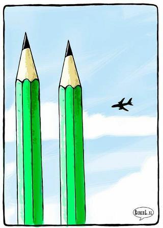 Dibujo de Ruben Oppenheimer, en homenaje a las víctimas del atentado de ayer en París