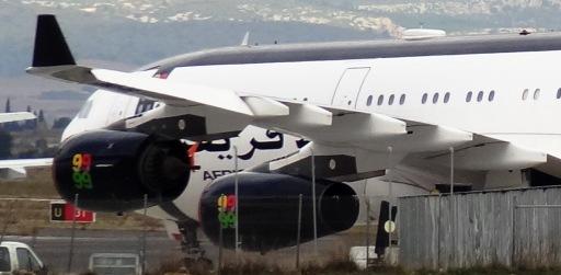 El A340 de Gadafi, fotografiado en Perpiñán en diciembre de 2012 / JFG