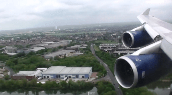 Aterrizaje de un 747 en Heathrow