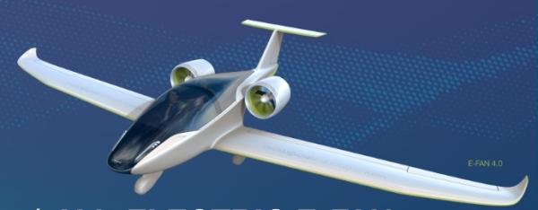Dibujo del futuro avión biplaza E-Fan 2.0