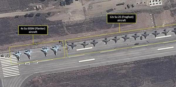 Imagen tomada por satélite de los cazas rusos en la base aérea de Lakatia