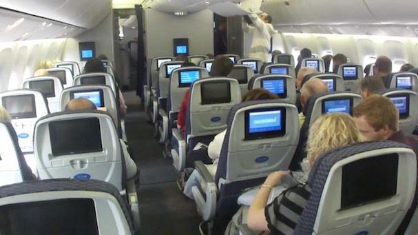 Interior de un Boeing 767 de United