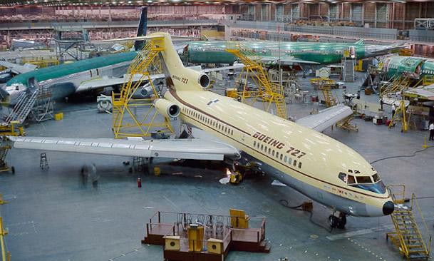 Foto histórica de la fabricación del Boeing 727 - Museum of Flight