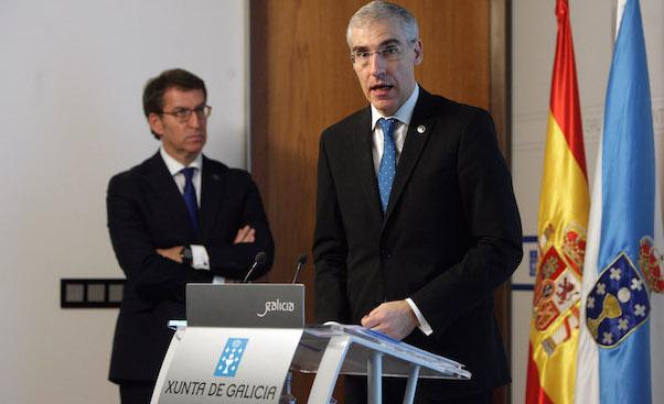 El presidente de la Xunta y el titular de Economía, Empleo e Industria, en la rueda de prensa / Xunta de Galicia