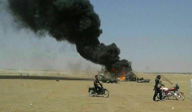 Foto del helicóptero abatido publicada en Twitter