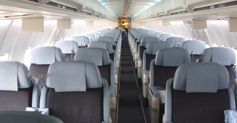 Interior de uno de los Boeing 757-200 de la compañía